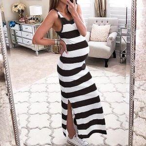 Striped Maternity Slip Dress